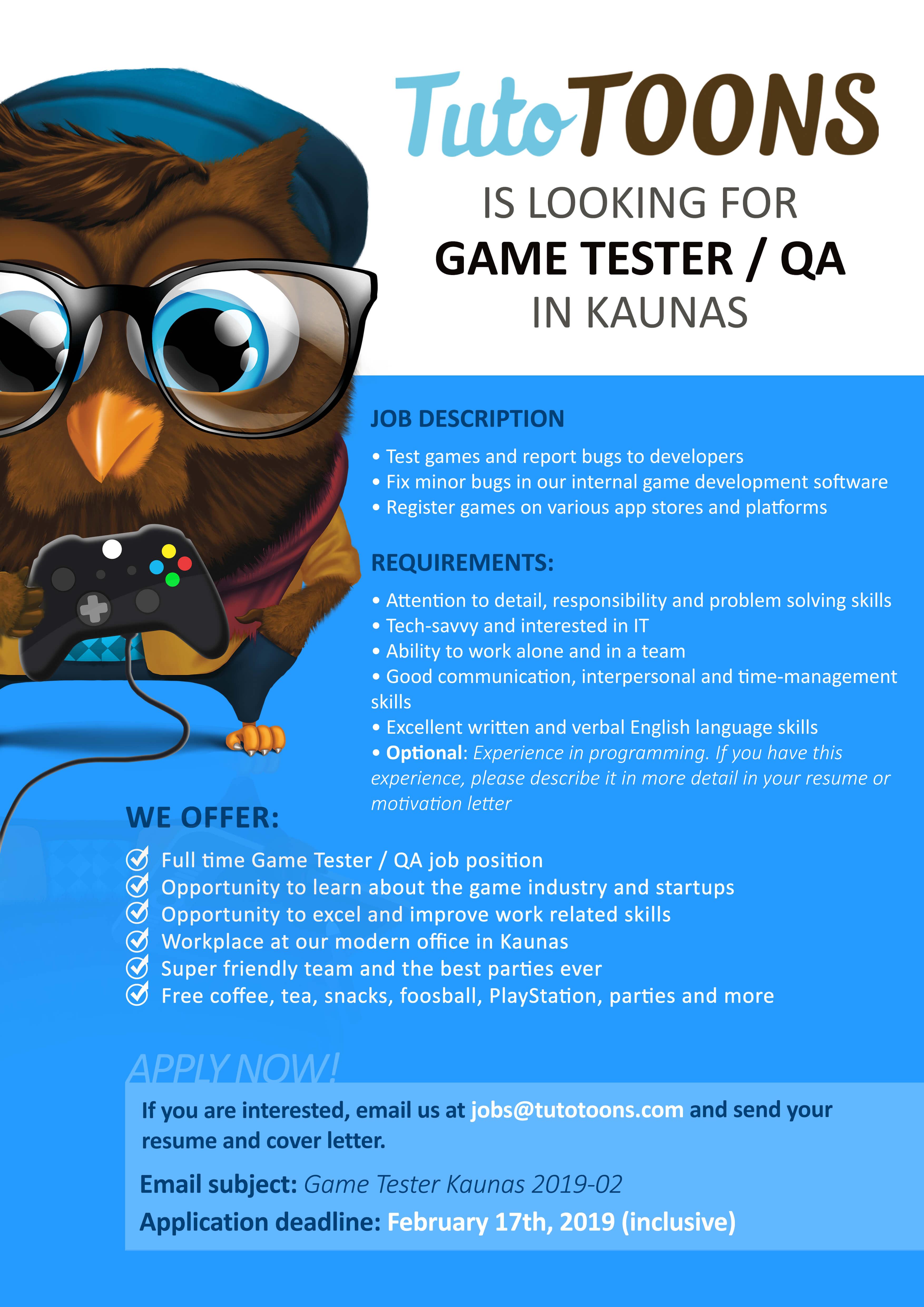 Game tester/ QA - VMU Career centre